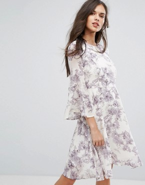 photo Pallida Trumpet Sleeve Floral Print Dress by Y.A.S, color Aop - Image 1
