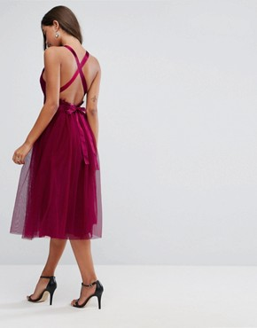 photo Lace Top Tulle Midi Prom Dress with Ribbon Ties by ASOS PREMIUM, color Fuchsia - Image 2