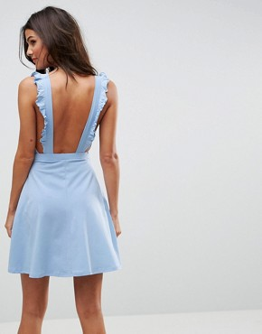 photo Mini Skater Sundress with Frill Straps by ASOS, color Pale Blue - Image 2