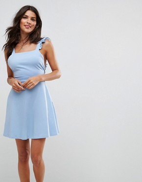 photo Mini Skater Sundress with Frill Straps by ASOS, color Pale Blue - Image 1
