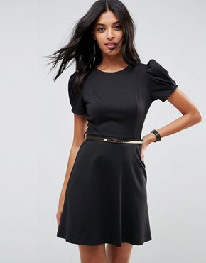 photo Ponte Skater Mini Dress with Puff Sleeve and Belt by ASOS, color Black - Image 1