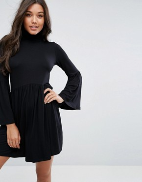 photo Polo Neck Smock Dress with Trumpet Sleeves by ASOS, color Black - Image 1