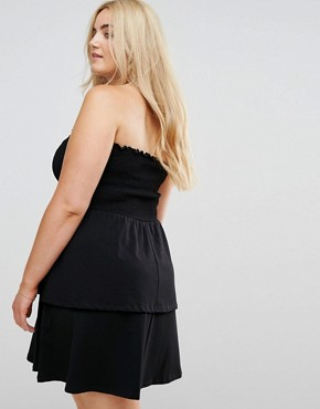 photo Bandeau Shirred Mini Sundress with Peplum Hem by ASOS CURVE, color Black - Image 2