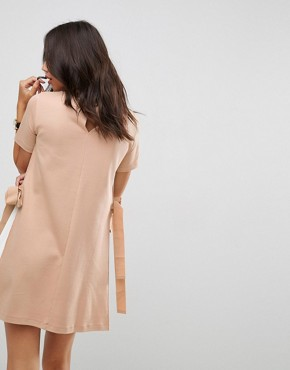 photo Shift Dress with Contrast Sides and Belt Detail by ASOS, color Camel/Ivory - Image 2
