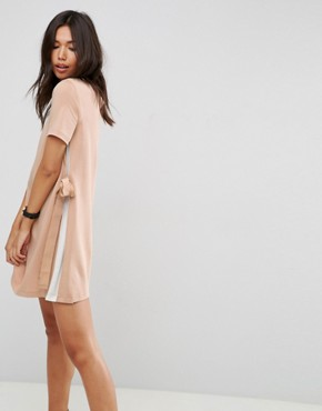 photo Shift Dress with Contrast Sides and Belt Detail by ASOS, color Camel/Ivory - Image 1
