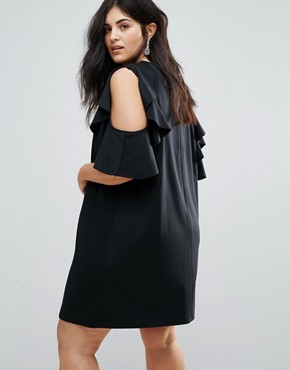 photo Ruffle Shift Dress in Scuba by ASOS CURVE, color Black - Image 2