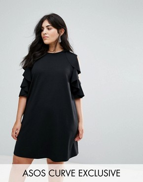 photo Ruffle Shift Dress in Scuba by ASOS CURVE, color Black - Image 1