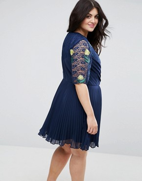 photo Embroidered Mini Pleat and Lace Dress by ASOS CURVE, color Navy - Image 2