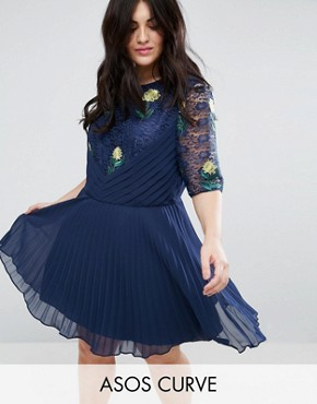 photo Embroidered Mini Pleat and Lace Dress by ASOS CURVE, color Navy - Image 1
