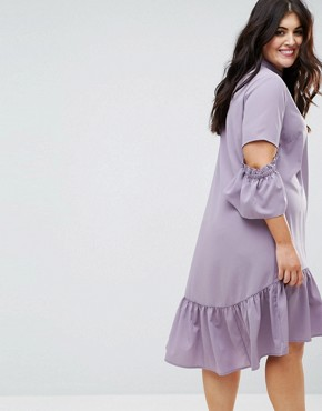 photo Tea Dress with Ruffle by ASOS CURVE, color Lilac - Image 2