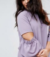 photo Tea Dress with Ruffle by ASOS CURVE, color Lilac - Image 3