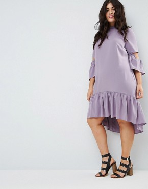 photo Tea Dress with Ruffle by ASOS CURVE, color Lilac - Image 4