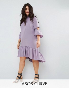 photo Tea Dress with Ruffle by ASOS CURVE, color Lilac - Image 1
