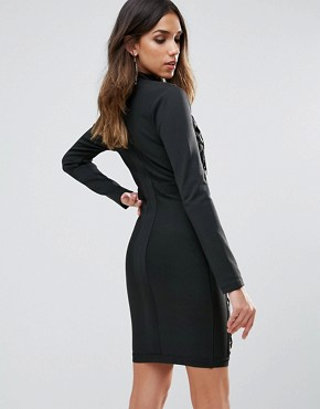 photo Oversized Laceup Detail Mini Bandage Bodycon Dress by WOW Couture, color Black - Image 2