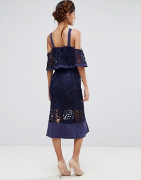 photo Frill Layer Cold Shoulder Lace Midi Dress by Jarlo, color Navy - Image 2