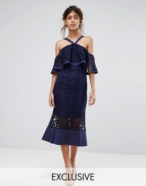 photo Frill Layer Cold Shoulder Lace Midi Dress by Jarlo, color Navy - Image 1