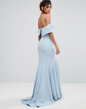 photo Bandeau Maxi Dress with Fishtail by Jarlo, color Powder Blue - Image 2