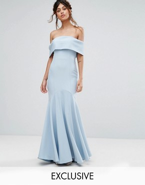 photo Bandeau Maxi Dress with Fishtail by Jarlo, color Powder Blue - Image 1