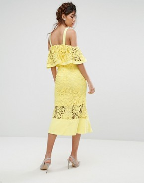 photo Frill Layer Cold Shoulder Lace Midi Dress by Jarlo, color Yellow - Image 2