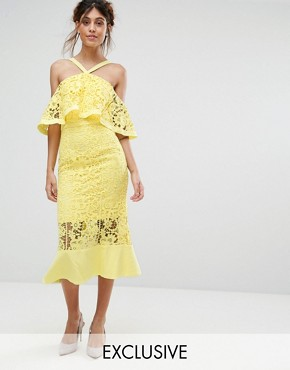 photo Frill Layer Cold Shoulder Lace Midi Dress by Jarlo, color Yellow - Image 1