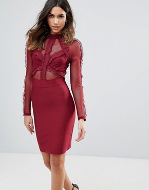 photo Lace Detail Top Mini Bandage Bodycon Dress by WOW Couture, color Berry - Image 1