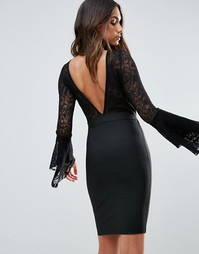 photo Plunge Wrap Front Lace Top Bandage Bodycon Dress by WOW Couture, color Black - Image 2