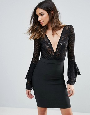 photo Plunge Wrap Front Lace Top Bandage Bodycon Dress by WOW Couture, color Black - Image 1