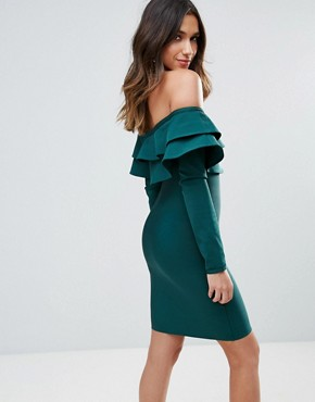 photo Exaggerated Frill Off Shoulder Mini Bandage Bodycon Dress by WOW Couture, color Emerald Green - Image 2