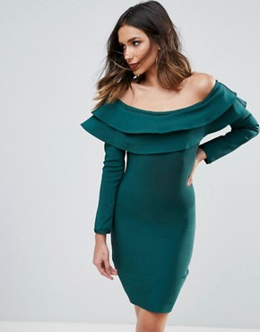 photo Exaggerated Frill Off Shoulder Mini Bandage Bodycon Dress by WOW Couture, color Emerald Green - Image 1