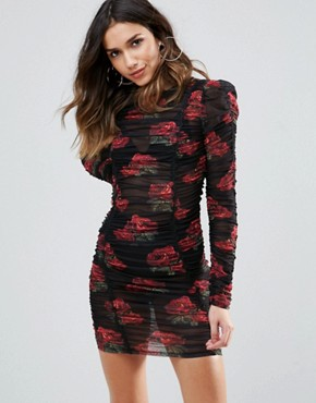 photo All Over Ruched Mini Bodycon Dress in Rose Floral Print by WOW Couture, color Multi - Image 1