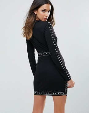 photo All Over Embellished Mini Bodycon Dress with Wrap Skirt by WOW Couture, color Black - Image 2