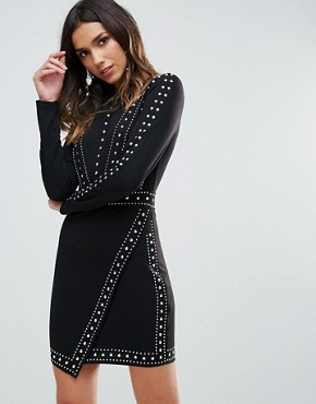 photo All Over Embellished Mini Bodycon Dress with Wrap Skirt by WOW Couture, color Black - Image 1