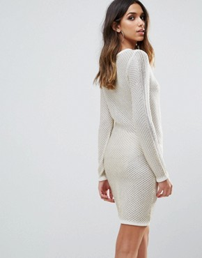 photo Metallic Crochet Dress with Lace Up Detail by WOW Couture, color Ivory - Image 2