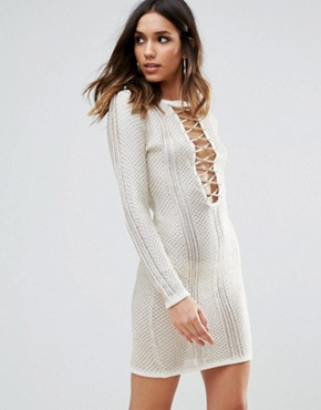photo Metallic Crochet Dress with Lace Up Detail by WOW Couture, color Ivory - Image 1