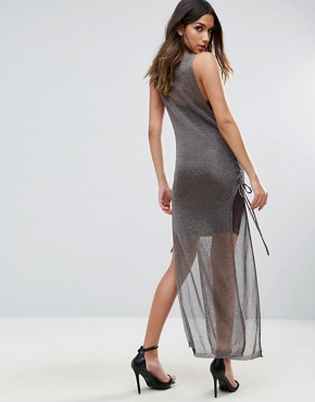 photo Metallic Crochet Knitted Lace Up Side Maxi Dress by WOW Couture, color Charcoal - Image 2