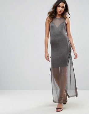 photo Metallic Crochet Knitted Lace Up Side Maxi Dress by WOW Couture, color Charcoal - Image 1