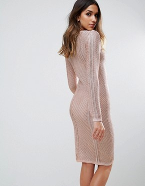 photo Metallic Crochet Knitted Midi Dress by WOW Couture, color Rose Gold - Image 2