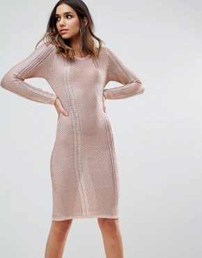 photo Metallic Crochet Knitted Midi Dress by WOW Couture, color Rose Gold - Image 1