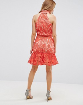 photo All Over Lace High Neck Mini Prom by Jarlo Petite, color Orange - Image 2