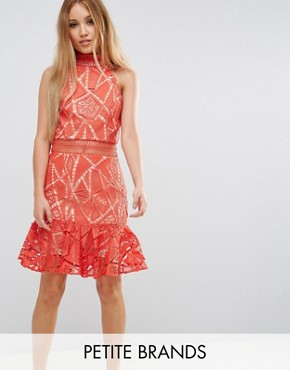 photo All Over Lace High Neck Mini Prom by Jarlo Petite, color Orange - Image 1