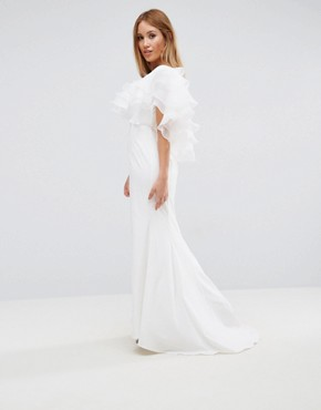 photo Maxi Dress with Ruffle Organza Detail by Jarlo Petite, color White - Image 2