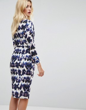 photo Midi Dress with Elastic Waist Detail in Ink Splash Print by ASOS, color Multi - Image 2