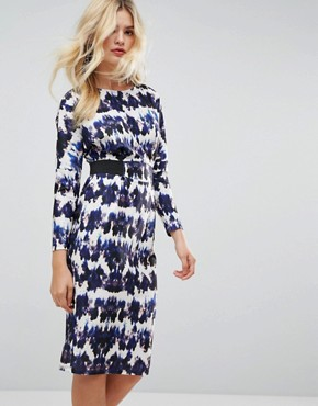 photo Midi Dress with Elastic Waist Detail in Ink Splash Print by ASOS, color Multi - Image 1
