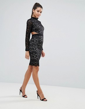 photo Allover Lace Pencil Dress with Scallop Back Detail by Love Triangle, color Black - Image 4