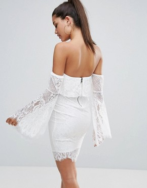 photo All over Lace Off Shoulder Pencil Dress with Fluted Sleeve Detail by Love Triangle, color White - Image 2