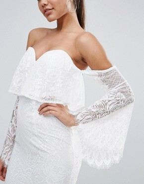 photo All over Lace Off Shoulder Pencil Dress with Fluted Sleeve Detail by Love Triangle, color White - Image 3