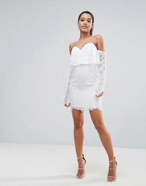 photo All over Lace Off Shoulder Pencil Dress with Fluted Sleeve Detail by Love Triangle, color White - Image 4