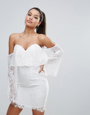 photo All over Lace Off Shoulder Pencil Dress with Fluted Sleeve Detail by Love Triangle, color White - Image 1