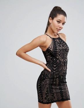 photo All over Lace Strappy Back Mini Bodycon Dress by Love Triangle, color Black - Image 2