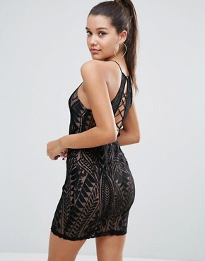 photo All over Lace Strappy Back Mini Bodycon Dress by Love Triangle, color Black - Image 1